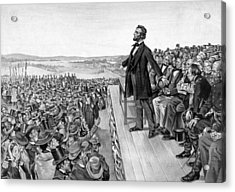 Lincoln Delivering The Gettysburg Address Acrylic Print by War Is Hell Store