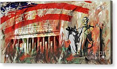 Acrylic Print featuring the painting Lincoln Memorial And Lincoln Statue by Gull G
