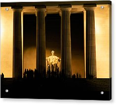 Lincoln Memorial Illuminated At Night Acrylic Print by Panoramic Images