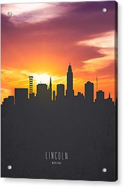 Lincoln Nebraska Sunset Skyline 01 Acrylic Print