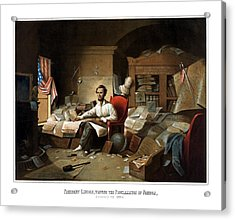 Lincoln Writing The Emancipation Proclamation Acrylic Print by War Is Hell Store