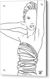 Line Art Lady Acrylic Print by Giuseppe Cristiano