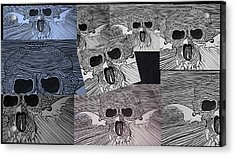 Line Skulls Collage Acrylic Print