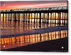 Sunset Seacliff Shadows Acrylic Print by Lora Lee Chapman