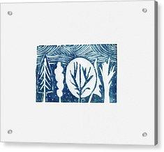 Linocut Trees Acrylic Print