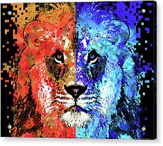 Acrylic Print featuring the painting Lion Art - Majesty - Sharon Cummings by Sharon Cummings