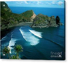 Lion Beach Piha New Zealand Acrylic Print
