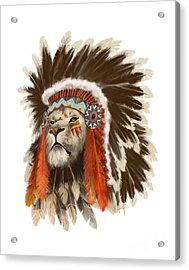 Acrylic Print featuring the painting Lion Chief by Sassan Filsoof
