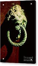 Lion Door Knocker In Venice Acrylic Print by Michael Henderson