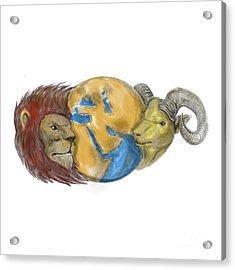 Lion Goat Head Middle East Globe Tattoo Acrylic Print