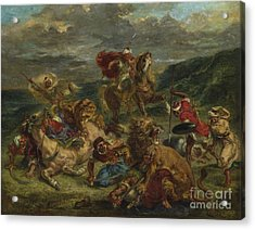 Lion Hunt Acrylic Print by Ferdinand Victor Eugene Delacroix