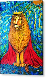 Acrylic Print featuring the painting Lion-king by Rae Chichilnitsky