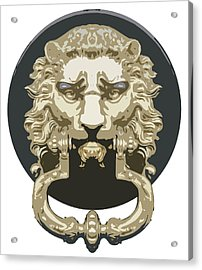 Lion Knocker Acrylic Print by Greg Joens