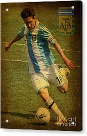 Lionel Messi Kicking Iv Acrylic Print by Lee Dos Santos