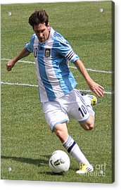 Lionel Messi Kicking Acrylic Print by Lee Dos Santos