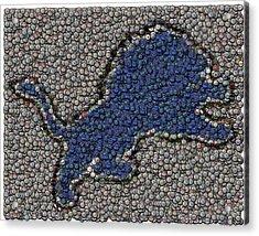 Lions Bottle Cap Mosaic Acrylic Print by Paul Van Scott