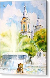 Lions Fountain Plaza Las Delicias  Ponce Cathedral Puerto Rico Acrylic Print
