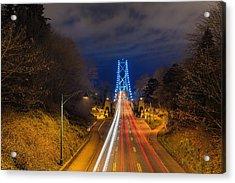 Lions Gate Bridge Light Trails Acrylic Print by David Gn