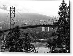 Lions Gate Bridge Mono Acrylic Print by John Rizzuto
