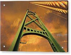 Lions Gate Bridge Tower Acrylic Print by David Gn