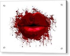 Lips - Dark Red Watercolour  Acrylic Print by Prar Kulasekara