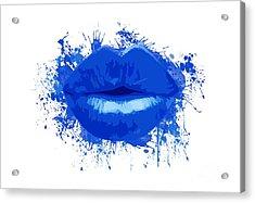 Lips - Deep Blue Watercolour  Acrylic Print