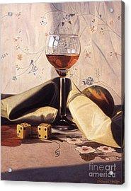Liqueur Glass And Orange Acrylic Print by Daniel Montoya