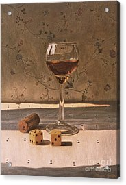 Liqueur Glass And Pair Of Dice Acrylic Print by Daniel Montoya