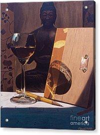 Liqueur Glass And Pencil Acrylic Print by Daniel Montoya