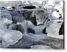 Acrylic Print featuring the photograph Winter Waterfall In Maine by Glenn Gordon