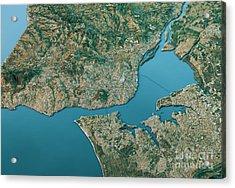 Lisbon 3d Landscape View South-north Natural Color Acrylic Print