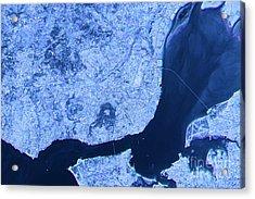 Lisbon Abstract City Map Satellite Image Blue Detail Acrylic Print by Frank Ramspott