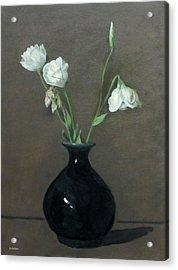 Lisianthus In Black Vase Acrylic Print