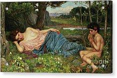 Listen To My Sweet Pipings Acrylic Print by John William Waterhouse