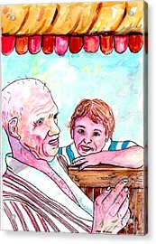 Listening To Grandpas Endless Funny Stories Acrylic Print by Philip Bracco