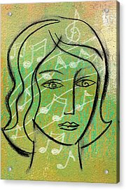 Acrylic Print featuring the painting Listening To Music by Leon Zernitsky
