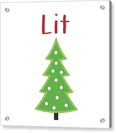 Lit Christmas Tree- Art By Linda Woods Acrylic Print by Linda Woods