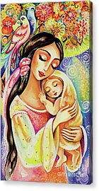 Acrylic Print featuring the painting Little Angel Dreaming by Eva Campbell