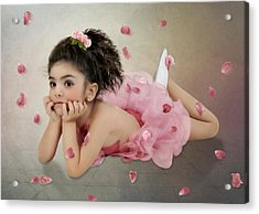 Little Ballerina In Pink Acrylic Print by Margarita Nizharadze