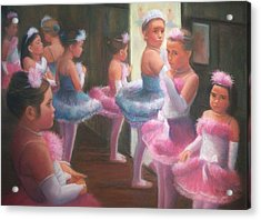 Little Ballerinas Backstage At The Recital Acrylic Print by Diane Caudle