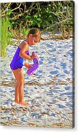 Little Beach Girl With Flip Flops Acrylic Print
