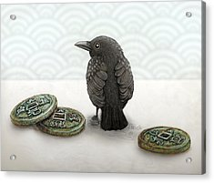 Little Bird And Coins Acrylic Print
