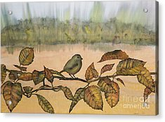 Little Bird On A Branch Acrylic Print by Carolyn Doe