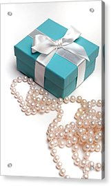 Little Blue Gift Box And Pearls Acrylic Print by Amy Cicconi