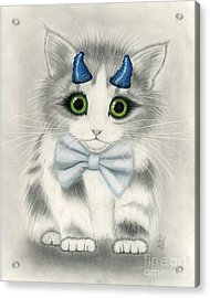 Acrylic Print featuring the drawing Little Blue Horns - Devil Kitten by Carrie Hawks