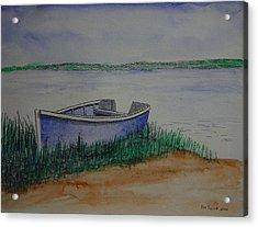 Little Blue Skiff Acrylic Print by Ron Sylvia