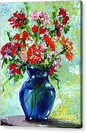 Little Blue Vase Acrylic Print by Ginette Callaway