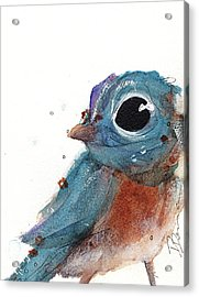 Acrylic Print featuring the painting Little Bluebird by Dawn Derman
