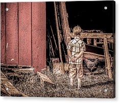 Little Boy And Rooster Acrylic Print by Julie Palencia