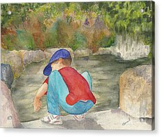 Little Boy At Japanese Garden Acrylic Print